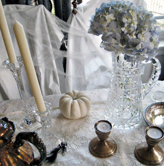 ghost table+halloween decorating ideas+haunted mansion tabletop+vintage silver tarnished