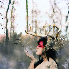 my atmosphere. (karrah.kobus) Tags: girl forest indian smoke feathers antlers nativeamerican connected whymusttheinternetdestroysomepicturessomuch