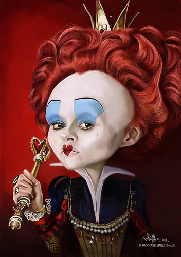 digital caricature of Helena Bonham Carter as The Red Queen
