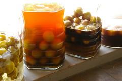 梅シロップ(りんご酢)・黒糖梅酒・梅シロップ(黒酢+黒糖)、黒糖バナナサワードリンク(黒酢)