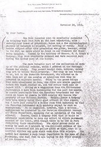 Carta de Hiram Bingham del 28.11.1916 (1)