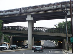 Subway bridges over Rhode Island Avenue NE, looking west