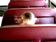 Country Shy (Menazort) Tags: school red bus art yellow rural hair kid movement flickr image head top candid seat shy route emergence subgenius timid embarassed menazort