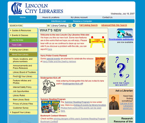 Lincoln City Library new page
