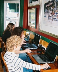 At the Moosehead cyber cafe (bookwyrmish) Tags: family vacation maine cybercafe moosehead