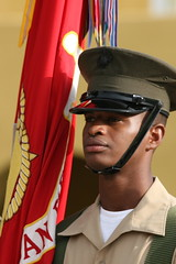 Marine Color Guard (Randy Son Of Robert) Tags: red people green hat yellow usmc proud marine uniform candid flag military cover colorguard canon70200f4l