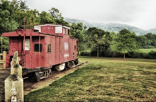 Train at base of Mountain