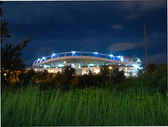 invesco field at mile high (pbo31) Tags: above park city trip travel blue summer sky urban usa black west color building green sports field grass sport architecture night america canon dark football colorado downtown noir different stadium unique nfl sunday favorites denver structure september odd co left broncos 2007 rockys milehighstadium invesco profootball
