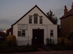 The Hall Evangelical Church,  Beckenham, at night