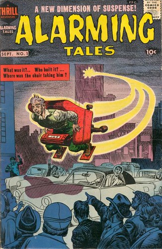 Alarming Tales #1 cover by Jack Kirby shows man flying through city on a rocket-powed chair
