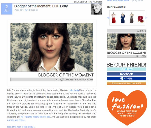 Blogger of the Moment- June 2010