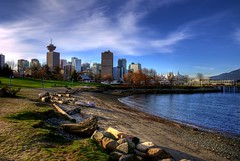 Portside Park (HDR) (Brandon Godfrey) Tags: city blue sky canada fall beach water colors skyline vancouver clouds buildings landscape scenery colorful downtown cityscape colours bc metro britishcolumbia sony western pacificnorthwest colourful dslr canadaplace hdr highdynamicrange coalharbour 2010 harbourcentre a300 panpacifichotel portsidepark fairmontpacificrim