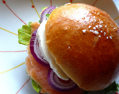 smoked salmon sandwich (chotda) Tags: food fish cheese breakfast bread sandwich carbs brioche buttery