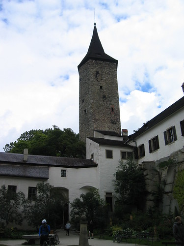 Hrad Rostejn courtyard and tower