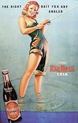 Women Fishing Michigan Vintage Red Rock Cola Ad