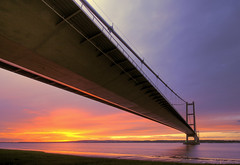 Humber Bridge Sunset (Corica) Tags: uk longexposure greatbritain bridge sunset england water yorkshire hdr northyorkshire humberbridge photomatix corica canon1755mm canon400d aplusphoto