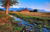 A Morning Light on the Stream (Jeff Clow) Tags: morning nature barn landscape outside outdoors bravo stream explore moutains hdr grandtetonnationalpark 3xp photomatix jeffclow magicdonkey moultonbarn onlythebestare cjeffrclowallrightsreserved googlephotooftheday
