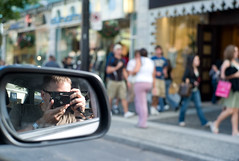 Self-portrait in the rear-view mirror (Mark Demeny) Tags: leica portrait selfportrait me vancouver m8 robsonstreet markdemeny 35mmsummicron leicam8