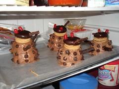 Four Dalek cupcakes in our fridge