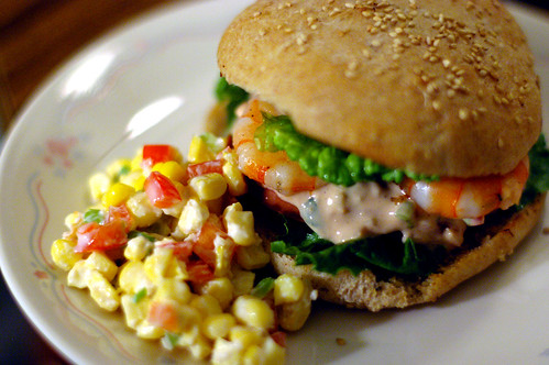 Shrimp Remoulade Po'boy with Corn Salad