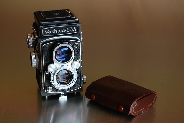 Yashica 635 and cased 35mm adapter kit