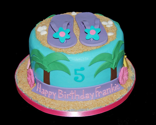 5th birthday Hawaiian Beach Scene Cake Topped with Flip Flops