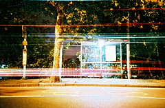 (edscoble) Tags: china camera red bus london film night lomo lca lomography xprocess long exposure shot crossprocess release transport ct slide cable double soviet plus agfa russian wimbledon automat decker tfl londonist c41 precisa kompakt