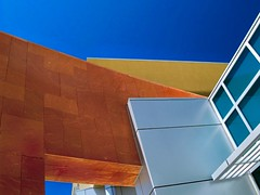 Conflagration of Materials (benrobertsabq) Tags: blue red glass yellow architecture silver aluminum northcampus abq unm dekkerperichsabatiniarchitects domenicihealthsciencescenter