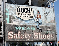 Wear safety shoes (slambo_42) Tags: sign boston ma shoes massachusetts wwii billboard safety weathered rustyandcrusty twtmeispy