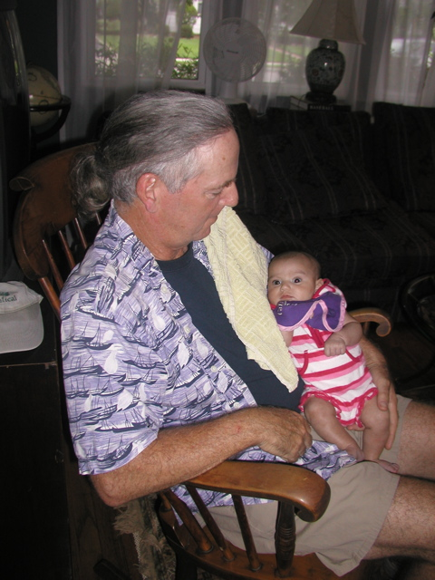 Michael with a new baby
