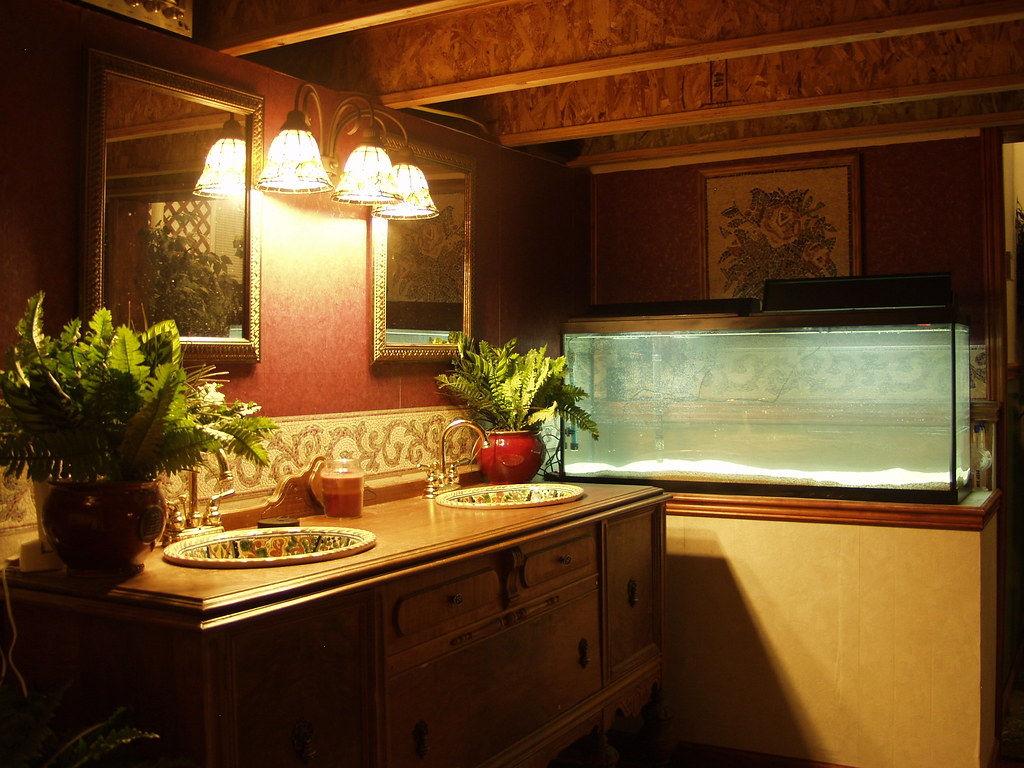 Salt water aquarium in master bath