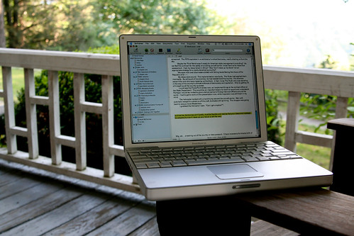 powerbook on porch