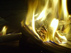 Words of Fire (Jeanne.Belle) Tags: closeup night paper fire book words flame