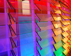 Detail of LEDs and shutters at the Torre Agbar, Barcelona (II) (Semi-detached) Tags: barcelona new glass architecture modern lights rainbow spain torre jean september led shutters shutter barcelone 2007 nouvel agbar colourartaward
