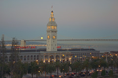 harvest moon & ferry building (garybill) Tags: sanfrancisco moon full harvestmoon portofsanfrancisco