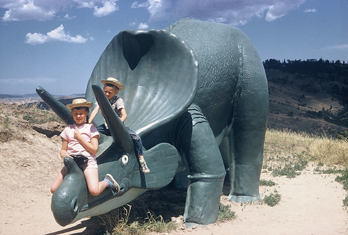 Dinosaur roadside attraction, built by the WPA, Rapid City, SD, 1956
