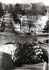 Students gather to hear President Simpson announce the study
