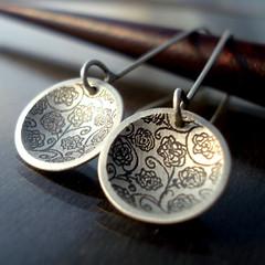 Rose Garden Earrings (Lisa Hopkins Design) Tags: flowers roses etched jewelry earrings sterlingsilver lisahopkinsdesign