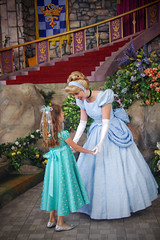 Little Giselle and Cinderella (Angelasews) Tags: princess disneyland disney giselle cinderella princessfantasyfaire