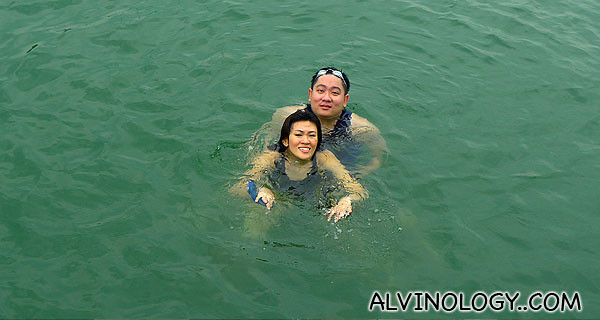 Rachel and I, swimming in the sea