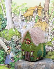 Forest House - front (Bella Dia) Tags: trees house green wool mushroom forest mushrooms miniature gnome little handmade embroidery small cottage craft felt fairy thatch wee thatchedroof goldilocks foresthouse littlehouse woolfelt thethreebears belladia