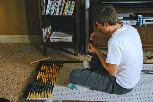 Placing pegs