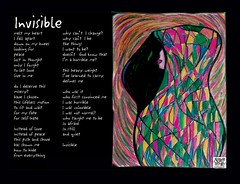 invisible Illustrated poem art by Angela Hayden (c) 2011 (Angela Hayden ART GODDESS) Tags: poverty santafe art writing painting dallas artwork poem contemporaryart illustrated fineart homeless suicide victory depression triumph expressionism feminism isolation therapy domesticviolence psychedelic shelter feminist abuse ptsd psychology surviving expressionistic socialjustice cathartic incest socialissues overcoming posttraumaticstressdisorder feministing angelahayden bookpoetry
