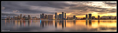 Downtown Miami at Sunset (Fraggle Red) Tags: sunset autostitch panorama skyline bravo downtown florida miami pano venetiancauseway jpeg hdr canoneosdigitalrebelxt i195 3shots macarthurcauseway canonefs1785mmf456isusm 3exp hdrpanorama juliatuttlecauseway abigfave superbmasterpiece diamondclassphotographer megashot excellentphotographerawards miamidadeco dphdr