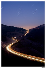 Coll de la Taixeta (Aitor Escauriaza) Tags: road light red sky cars night stars landscape lights star landscapes nikon long exposure paint skies nightlights trails s trail pollution nights contaminacion luminous coches startrails d90 lumnica polucin nikon1870 starttrails aitorescauriaza luminica poluci