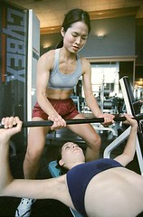 novastock8448 (Gerard Fritz) Tags: woman vertical train training lesbian asian women exercise spot safety getty strength press fitness gym fritz weight spotting weights gerard novastock gerardfritz