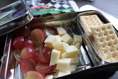 Grapes, cheese and crackers