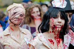 Sexy Zombie Nurse With Sexy Zombie Gimp From the Toronto Zombie Walk 2010 (Christopher Brian's Photography) Tags: toronto ontario canada halloween girl blood eyes zombie gimp gore undead nurse tpmg sigma7020028ex canoneos7d 2010zombiewalk torontozombiewalk2010