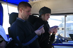 Playing cards in the truck