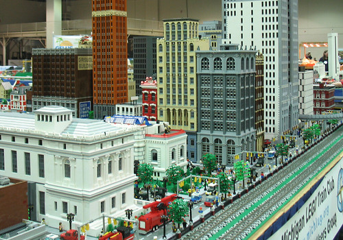 LEGO City with Detroit Buildings at NMRA National Train Show 2007
